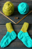 Socks, stockings, winter, knit, handmade Stock Photos