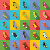 Socks textile icons set, flat style. Socks textile icons set. Flat illustration of 25 socks textile vector icons for web Stock Images
