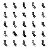 Socks textile icons set, simple style. Socks textile icons set. Simple illustration of 25 socks textile vector icons for web Stock Photography