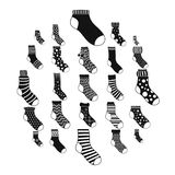Socks textile icons set, simple style. Socks textile icons set. Simple illustration of 25 socks textile vector icons for web Stock Images