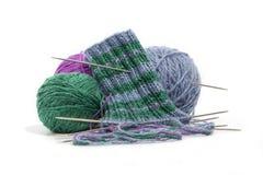 Socks3 tricotado manualmente Imagens de Stock Royalty Free