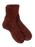 Socks. Warm brown knitted socks on white Royalty Free Stock Image
