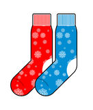 Socks winter with snowflakes for Christmas gifts Royalty Free Stock Photo