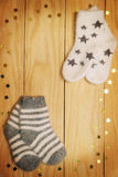 Socks on a wooden board Royalty Free Stock Photo