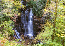 Soco Falls surrounded by fall leaves. Royalty Free Stock Photos