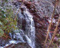 Soco Falls in Winter stock photography