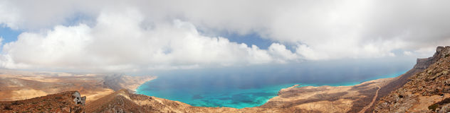 Socotra island. Yemen, panoramic view from easternmost point Royalty Free Stock Photos