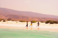 Socotra, Yemen, March 9, 2015 Simple rural fishermenThe inhabitants of the island of Socotra on the shore.island of Socotra. Yemen stock photography