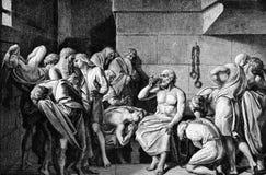 Socrates выпивая Conium иллюстрация вектора