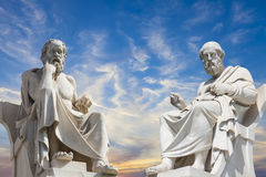 Socrates and Plato. Statue of Socrates and Plato in the Academy of Athens,Greece