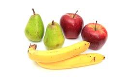 Soczyste bonkrety, jabłka i banany, Na bielu Zdjęcia Stock