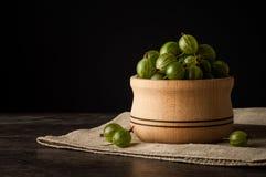 Soczyste dojrzałe jagody agrest w małym drewnianym garnku na czerni ukazują się Agrestowy żniwo Zdjęcia Stock