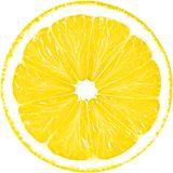 Soczysty żółty plasterek odizolowywający na białym tle z ścinek ścieżką cytryna Zdjęcie Stock