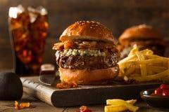 Soczysty Błękitnego sera hamburger Obrazy Royalty Free