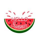 Soczysty kawałek arbuza kąsek z kiścią sok i ręka pisać lato Cześć Logo Na Bia?ym tle Mieszkanie Odizolowywaj?cy royalty ilustracja