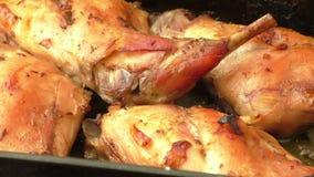 Soczysty piec królika mięso w smaży niecce zdjęcie wideo