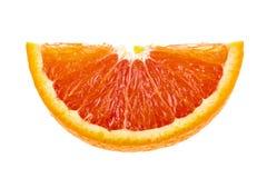 Soczysty pomarańczowy plasterek odizolowywający na bielu Obrazy Stock