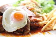 Soczysty stku mięso z francuskimi dłoniakami Obraz Stock