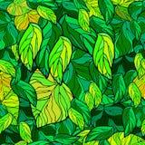 Soczysty, zielony, mozaika, kreskówka opuszcza Bezszwowy zniweczony liść royalty ilustracja