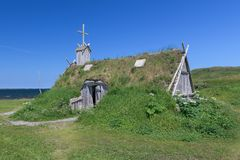Sod church by Atlantic Ocean in Newfoundland. Sod church at Norstead, a Viking Village and Port of Trade that is a reconstruction of a Viking Age settlement in L stock photography