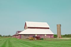 Sod Farm with Purple Barn Stock Photography