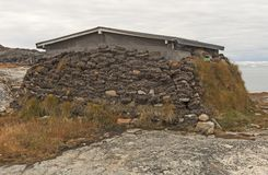 Sod Insulation on an Arctic House. In Ilulissat, Greenland royalty free stock photos