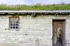 Sod roof brock building with a wooden indian Royalty Free Stock Photography