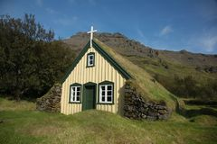 Sod roof church in Iceland Stock Images