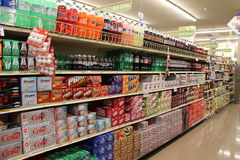 Soda. Variety of Soda in a grocery store Royalty Free Stock Images