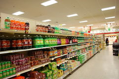 Soda Aisle in the Supermarket Stock Photo