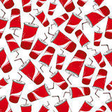 Soda beverages red paper cups seamless pattern Stock Photo