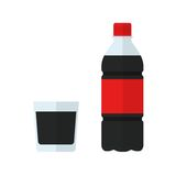 Soda bottle icon and glass. Drink in flat style isolated. On white background. Soda  illustration Stock Photography