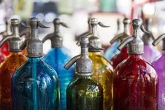 Soda bottles at San Telmo flea market in Buenos Aires, Argentina. With more than 154 liters per person in 2014, Argentina is the world leader in soft drink Stock Images