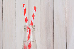 Soda Bottles and Two Straws Royalty Free Stock Photography