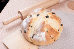Soda bread with rolling pan on the table. Horizontal royalty free stock photography