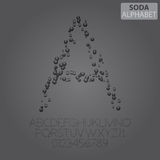 Soda Bubbles Alphabet and Numbers Vector Royalty Free Stock Photo