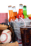 Soda Bucket With Full Glass and Baseball Equipment Stock Photo