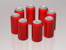 Red Soda cans Stock Photography