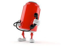 Soda can character with handset Stock Images