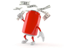Soda can character with money Stock Photos