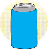 Soda in Can Cooler. Cartoon of soda can inside blue foam cooler Royalty Free Stock Photos