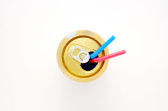 Soda Can with Straws. Looking down on a Soda Can with red & blue Straws Stock Photography