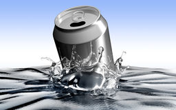 Soda can throwed into the water making polution.  Stock Image