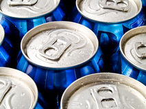 Soda Can Tops. A close up on a bunch of soda cans Stock Photo