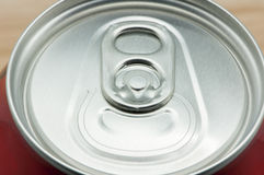 Soda can. On a wooden background royalty free stock photos