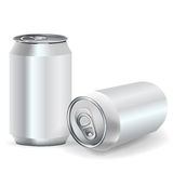 Soda cans. Two aluminum soda cans front and perspective Stock Photography