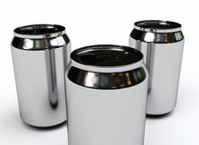 Soda cans blank. Three blank soda cans isolated on white Stock Photography