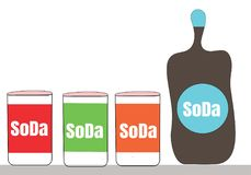 Soda cans and bottle illustration idea concept. Drink refreshment Royalty Free Stock Photography
