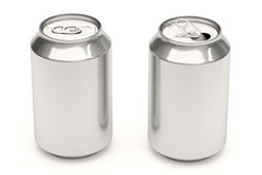 Soda Cans on White. Aluminium soda cans isolated over a white background Royalty Free Stock Images