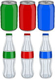 Soda Cola Aluminium Cans Glass Bottles Three Colors Royalty Free Stock Image
